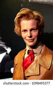 New York, USA - April 30, 2018: Amelia Earhart in Madame Tussauds of New York