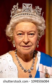New York, USA - April 30, 2018: Portait of Queen Elisabeth II in Madame Tussauds of New York