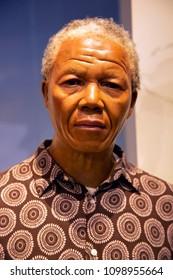 New York, USA - April 30, 2018: Nelson Mandela in Madame Tussauds of New York