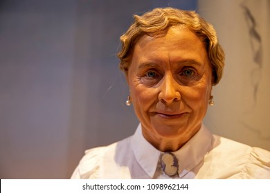 New York, USA - April 30, 2018: Helen Keller in Madame Tussauds of New York