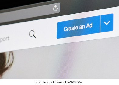 New york, USA - april 8, 2019:Create an ad in facebook on digital screen macro close up view