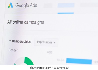 New york, USA - april 8, 2019: Google ads campaign on digital screen macro close up view