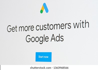 New york, USA - april 8, 2019: Getting more clients with google ads on digital screen macro close up view