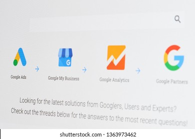 New york, USA - april 8, 2019: Google ads tools application on digital screen macro close up view