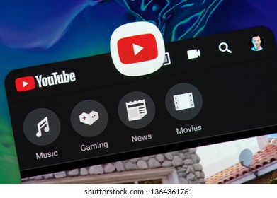 New york, USA - april 8, 2019: Youtube video  application on digital screen macro close up view