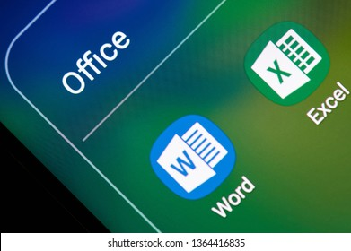 New york, USA - april 8, 2019: Microsoft office excel and word application on digital screen macro close up view