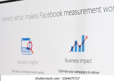 New york, USA - april 8, 2019: Facebook ads measurement on digital screen macro close up view
