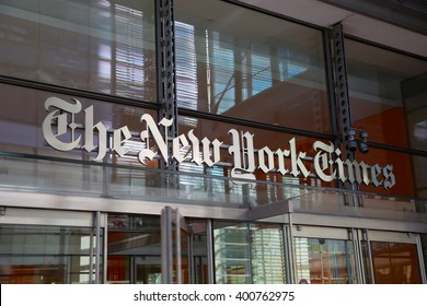 "New York, New York, USA - August 05, 2013: The entrance to the building of daily newspaper ""The New York Times"". It's one of the most important and influent newspaper in the world."