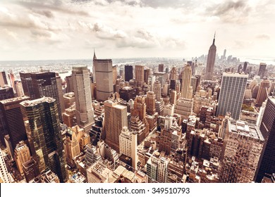 NEW YORK, USA - AUGUST 12, 2013: Manhattan aerial view with Empire State building in New York City. Empire State is a 102-story landmark and was world's tallest building for more than 40 years.