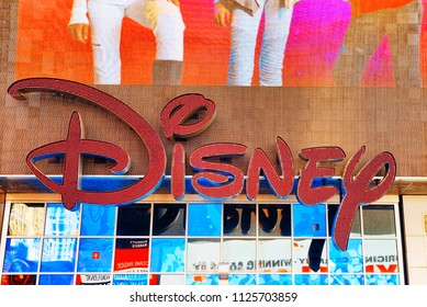 New York, USA- August 14, 2017 :  Poster Disney on Times Square-central and main square of New York. USA.