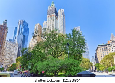New York, USA- August 14, 2017 : City Hall Park. The financial capital of America is New York City. Urban views of New York.