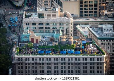New York, USA - August 16, 2019: rooftop bar in Manhattan