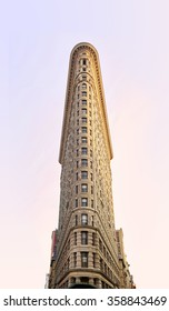 NEW YORK, USA - August 17 : Flat Iron building facade on August 17, 2015. Completed in 1902, it is considered to be one of the first skyscrapers ever built