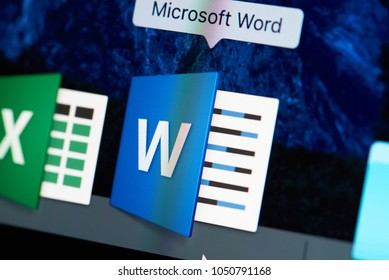 New york, USA - August 18, 2017: Microsoft office word icon close-up on laptop screen. Starting word app