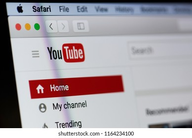 New york, USA - August 18, 2017: Youtube video sharing service on laptop screen close-up. Internet video channel