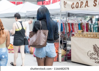 New York, USA, August 18, 2018:People visiting a street market in New York City