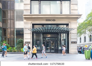 New York, USA, August 18, 2018:HSBC Bank Branch in New York city.