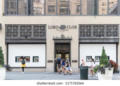 New York, USA, August 18, 2018:Fifth Avenue & West 39th Street in Manhattan. Lord & Taylor store front