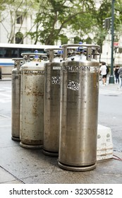 New York, New York, USA - August 18, 2011: Liquid Nitrogen tanks on 40th street off 5th Avenue. Liquid nitrogen is used in various ways for underground telecommunication and electric cables.