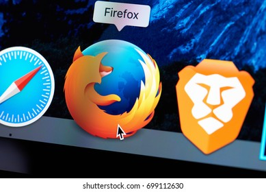 New york, USA - August 18, 2017: Firefox web browser icon on laptop screen close-up.