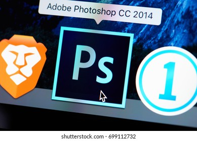 New york, USA - August 18, 2017: Adobe photoshop icon on laptop screen close-up