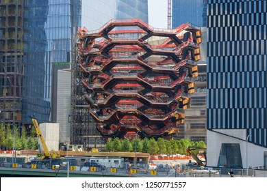 New York, USA - August 20, 2018: the Vessel is 154 intricately interconnecting flights of stairs inspired by the stepwells of India. It will be the centerpiece of the Hudson Yards.