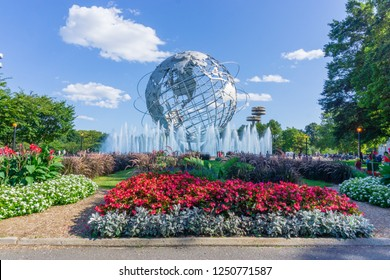 New York, USA - August 20, 2018: The iconic Unisphere in Flushing Meadows Corona Park in Queens. The structure was build for the 1964 NYC World's Fair.