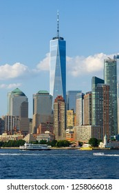 New York, USA - August 20, 2018: New York City , Lower Manhattan View of One World Trade Center and Surrounding Skyscraper Buildings