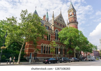New York, USA - August 20, 2018: The Jefferson Market Branch, New York Public Library, once known as the Jefferson Market Courthouse, is located in Greenwich Village, Manhattan, New York City,