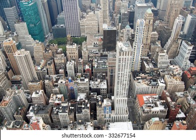 New York, USA - August 20, 2012: aerial view of skyscrapers and buildings in Manhattan, New York City. The district is one of the most densely populated in the USA.
