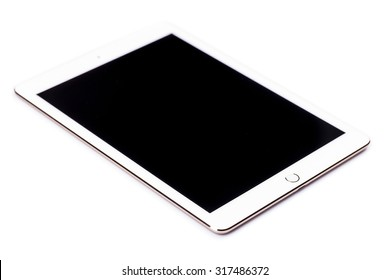 New York, USA - August 21, 2015:Brand new Gold White Apple iPad Air 2, 6th generation of the iPad, developed by Apple inc. and was released on October 16, 2014