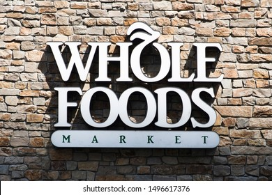 NEW YORK, USA - AUGUST 22, 2017: Detail of Whole Foods Market store in New York, USA. Whole Foods Market is an American multinational supermarket chain founded at 1980.