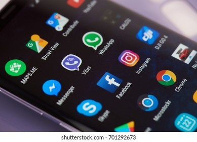 New york, USA - August 22, 2017: Mobile application icons on modern smartphone screen close-up