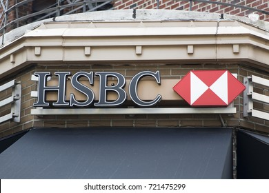 NEW YORK, USA - AUGUST 22, 2017: Detail from HSBC bank in New York, USA. With more than 7500 offices and 85000 employees it is one of the largest banking and financial services organisation in world.