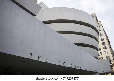 NEW YORK, USA - AUGUST 22, 2017: Detail of the Guggenheim Museum in New York. Museum was designed by Frank Lloyd Wright and building opened on October 21, 1959.