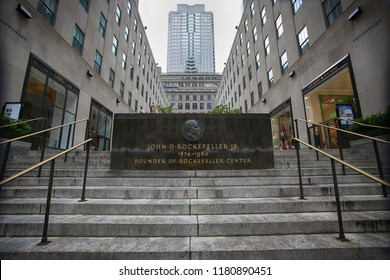 New York, USA – August 23, 2018: Memorial Plaque to American financier and philanthropist John D. Rockefeller Jr. in front of the Rockefeller Center in Manhattan, New York, USA.