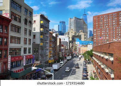 New York, USA – August 23, 2018: View on Madison St, Chinatown quarter of Manhattan, populated mainly by immigrants from China in New York, USA.