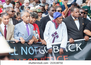 NEW YORK, USA - AUGUST 23, 2014: Rev. Al Sharpton in front of the march in Staten Island to protest Eric Garner's death by NYPD cops.