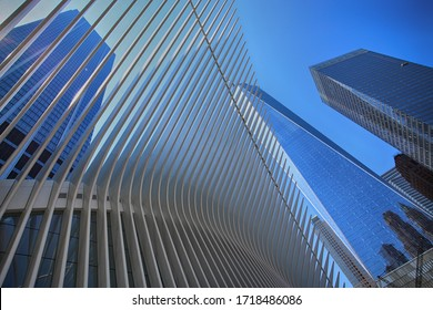 New York, USA – August 24, 2018: Exterior of the building One World Trade Center and Oculus ribs (WTC Transportation Hub) in New York, USA