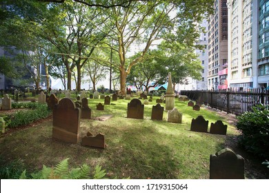 New York, USA – August 24, 2018: View of Cemetery near Saint Paul's Chapel of Trinity Church Cemetery in downtown Manhattan, Wall street in New York, USA
