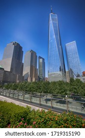 New York, USA – August 24, 2018: View of skyscrapers One World Trade Center and financial district in the Manhattan, New York, USA