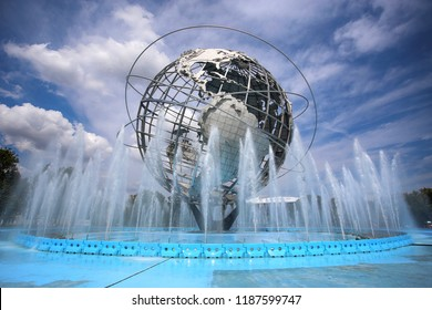 New York, USA – August 25, 2018:  The Unisphere World at Flushing Meadow Park in Flushing, Corona Park, New York, United States of America