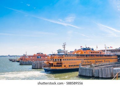 NEW YORK, USA - August 25, 2016 : Staten Island ferry docked at St. George Terminal  preparing for sail to Manhattan