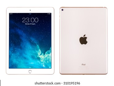 New York, USA - August 26, 2015: Front and back view of white Apple iPad Air 2, 6th generation of the iPad, developed by Apple inc. and was released on October 16, 2014