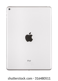 New York, USA - August 26, 2015: Back view of Galaxy Grey Apple iPad Air 2, 6th generation of the iPad, developed by Apple inc. and was released on October 16, 2014