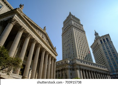 New York, USA - August 26, 2017 - New York County Supreme Court, Thurgood Marshall United States Courthouse and Manhattan Municipal Building