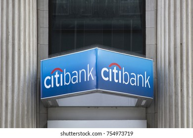 NEW YORK, USA - AUGUST 27, 2017: Citibank  in New York. Citibank is banking division of financial services multinational Citigroup, founded in  in 1812 as the City Bank of New York.