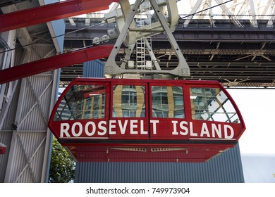 NEW YORK, USA - AUGUST 30, 2017: Detail of Roosevelt Island Tramway in New York. It  is the first commuter aerial tramway in North America, opened in 1976