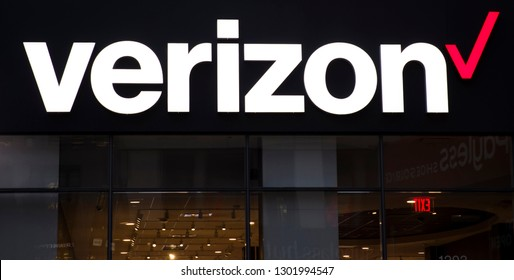 NEW YORK, USA - AUGUST 31, 2017: Detail of the Verizon store in New York City. Verizon is a large American broadband and telecommunications company.