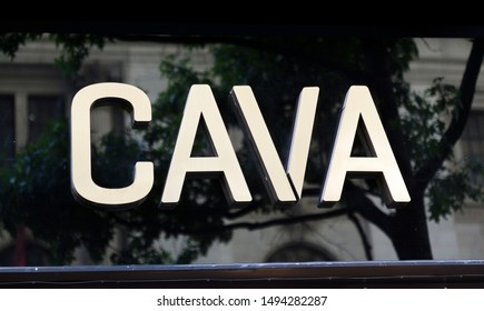 New York, New York, USA - August 31, 2019: CAVA logo signage. CAVA produces Mediterrranean dips and spreads.